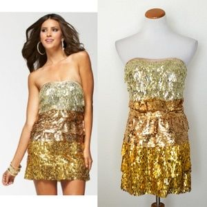 bebe Tina Gold Ombre Tiered Sequin Dress